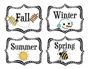 Need season labels for your calendar area?  Make a clothespin with an arrow on top, affix to the right season, and you have yourself a simple season chart!   Free Printable Seasons Labels  #freebie #seasons