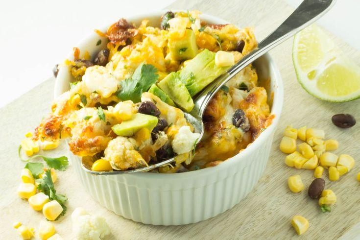 Cheesy Tex-Mex cauliflower with chicken, black beans, corn, cilantro ...