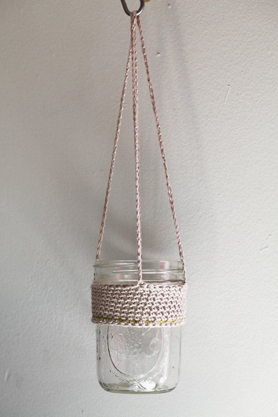 8 Inch Crocheted Hanging Plant Holder In Natural And Neon