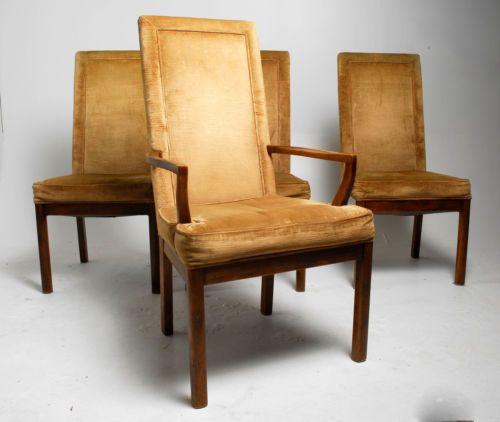 Set of 4 vintage drexel heritage high back upholstered for High back parsons chair