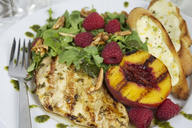 Tequila Citrus Chicken with Grilled Peache & raspberry Salad--I love ...