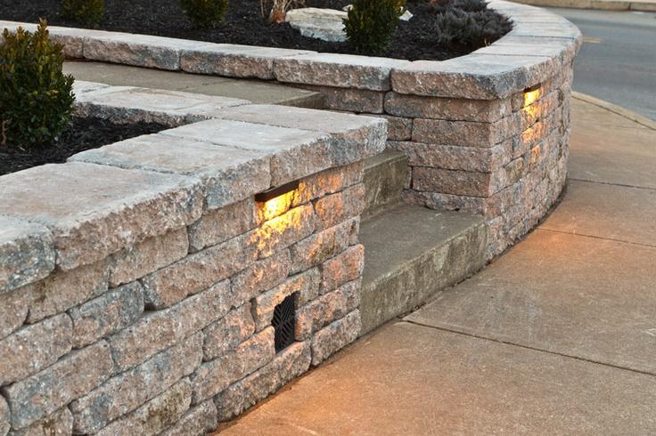 Retaining wall with lights Retaining & sitting walls Pinterest