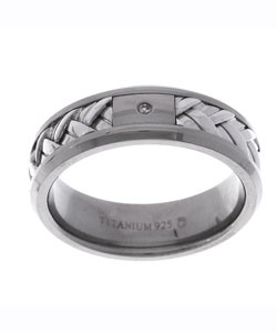 Good men's wedding band-Titanium Silver and Diamond Ring
