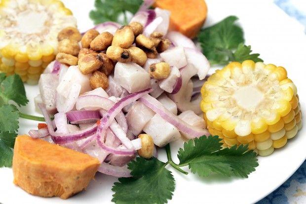 Peruvian ceviche with corn, sweet potato and corn nuts. J.L. Sousa ...