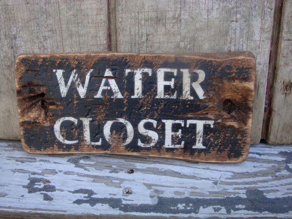 Wood Rustic Sign Closet Bathroom By Water Distressed TheUnpolishedBarn Signs