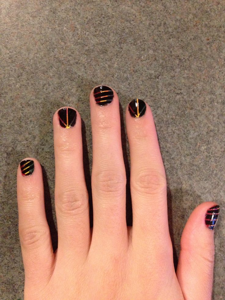 Cool design using nail tape. | COOL NAIL DESIGNS | Pinterest