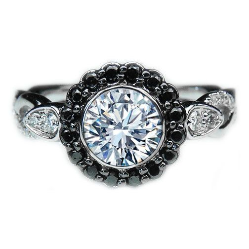 2 66ct Black Diamond Halo Bezel Engagement Ring Twisted Pave Band in