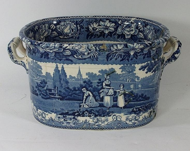 Transfer printed pottery: a foot bath