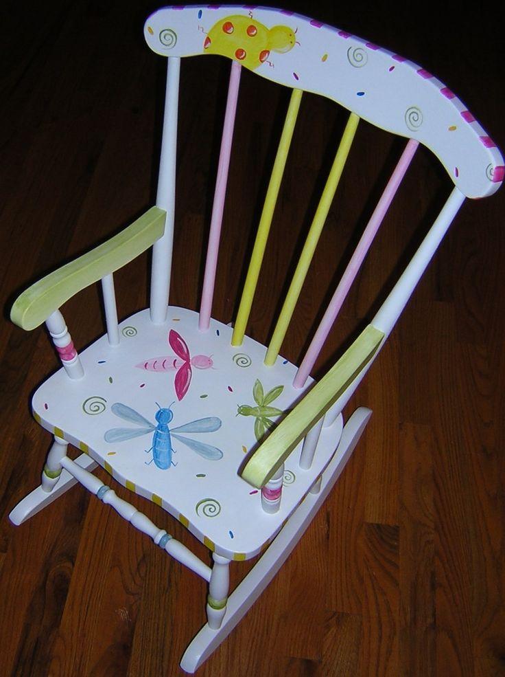 Kids painted rocking chair by growinlikeaweed on etsy 159 00