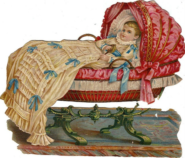 Victorian Die Cut of baby in bassinet