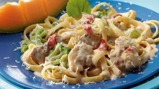 Enjoy this delicious chicken Alfredo slow-cooked with chicken thighs ...