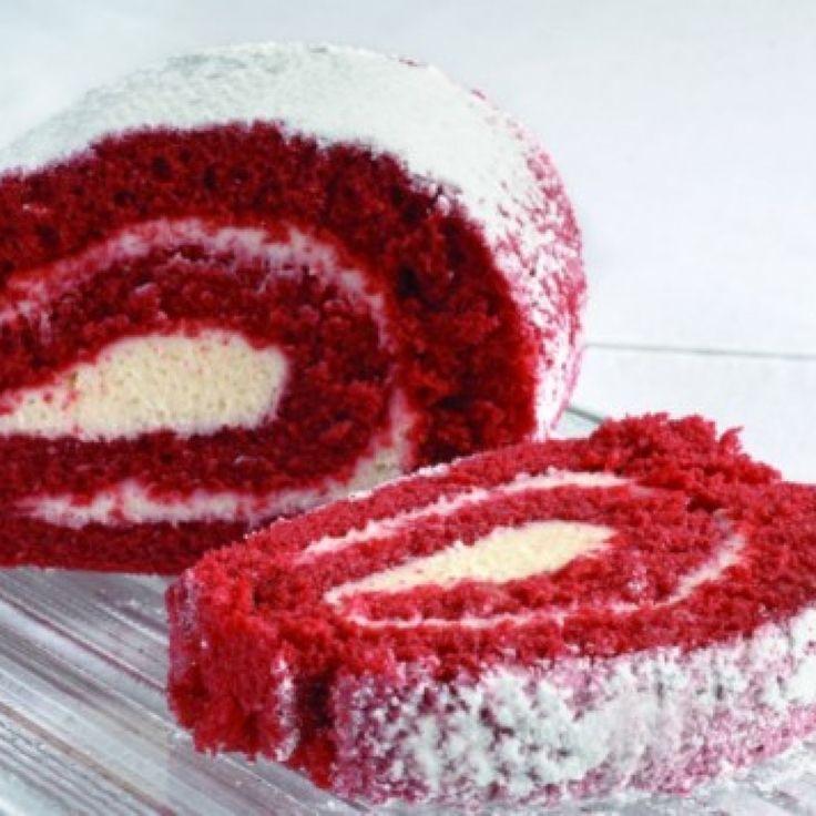 RED VELVET CAKE ROLL | recipes | Pinterest