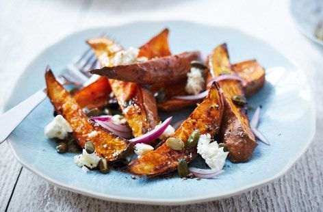 just looks so good! Roasted sweet potato salad with feta and onion