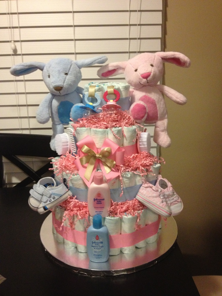 Diaper cake for twins baby shower decorations pinterest for Baby shower diaper decoration ideas