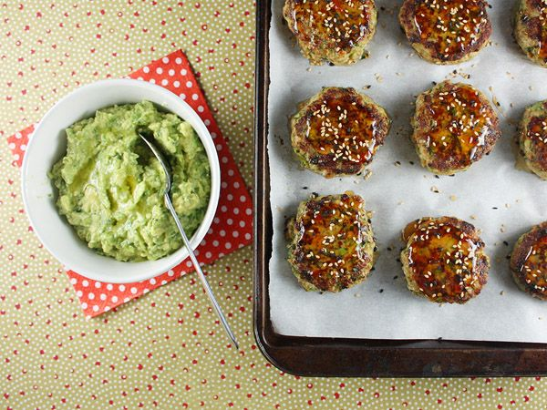 turkey cakes with wasabi guacamole....I could do without the wasabi ...