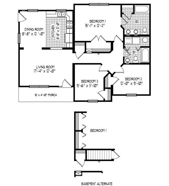 43 x32 3 bedroom 2 baths cabin floor plans pinterest
