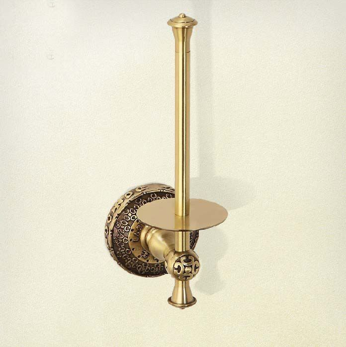 Luxury Standing Toilet Paper Holders Antique Brass