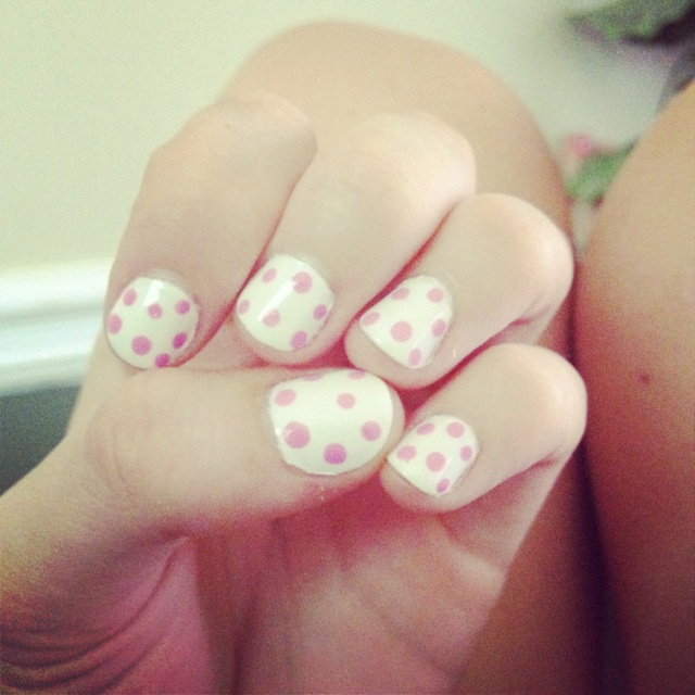 Pink polka dotted nails