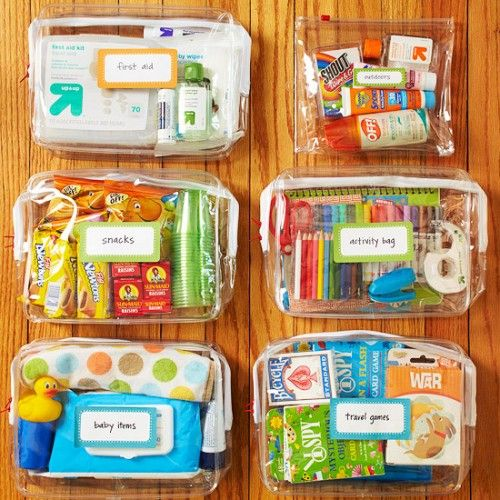 Grab & Go Pouches -- Organize anything that can be handy while out and about into clear zippered pouches. Store them near the door so you can grab the relevant bags as you rush out the door and you'll always be ready for the day's activities.
