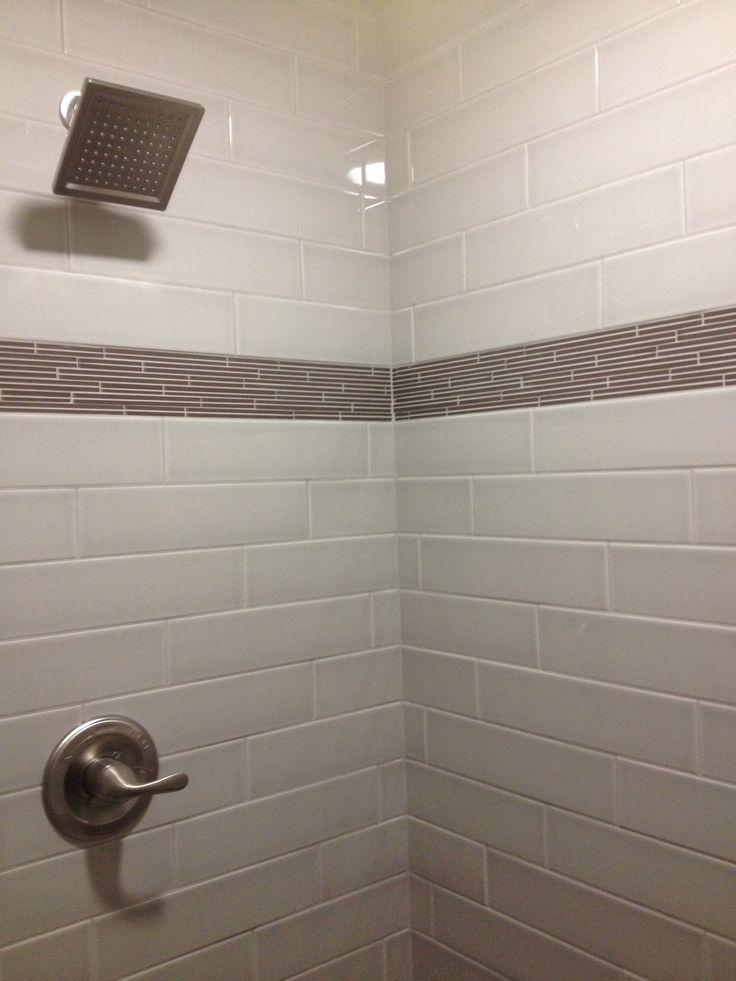 Tiled master shower with accent strip design by dennis pinterest
