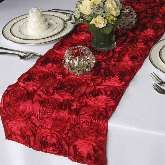 wedding Satin Table Red  rosette Dark Runner table Wedding Rosette runner Ribbon