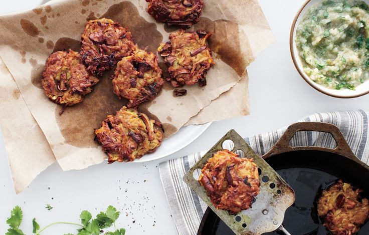 Celery Root and Mushroom Latkes with Onion Applesauce - Bon Appétit