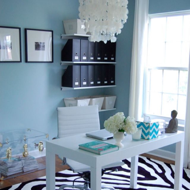 Home office decor...love the zebra rug