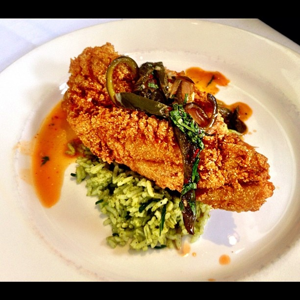 fried catfish with green rice & chiles at Herbsaint #neworleans #food ...