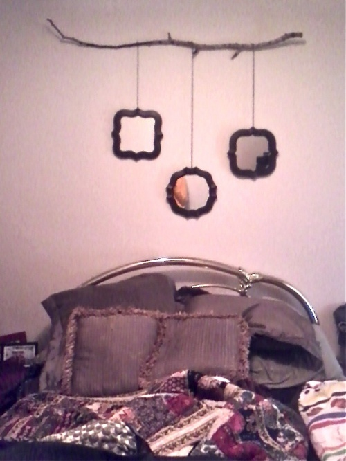 Tree branch wall decor i like this idea better than the curtain rod
