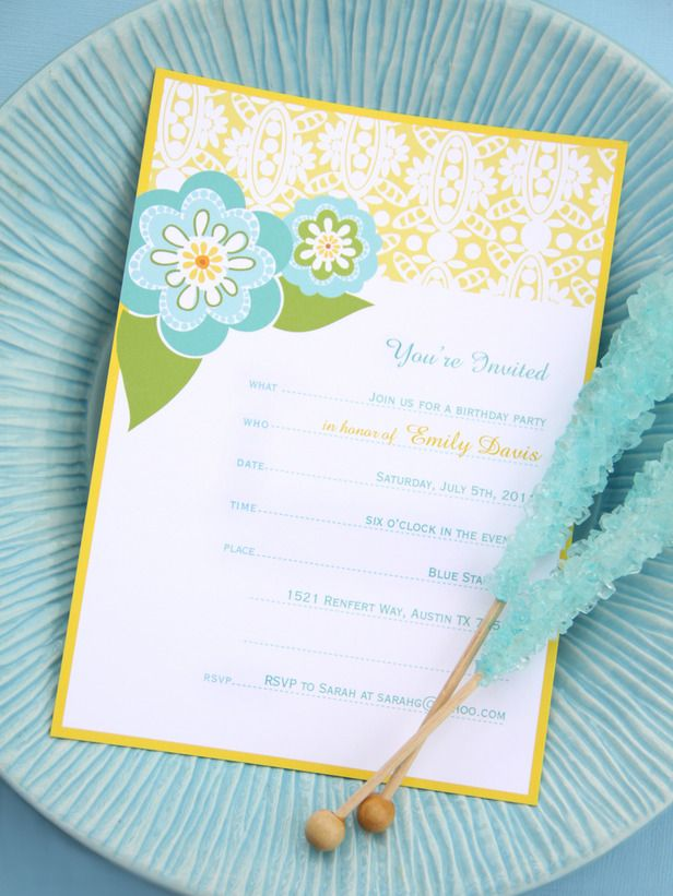 free printable invites from HGTV
