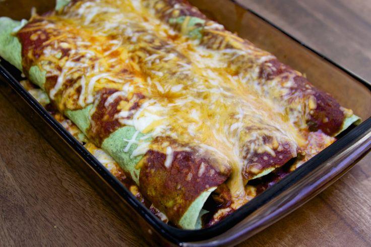 Chicken and Veggie (and bean) Stuffed Enchiladas