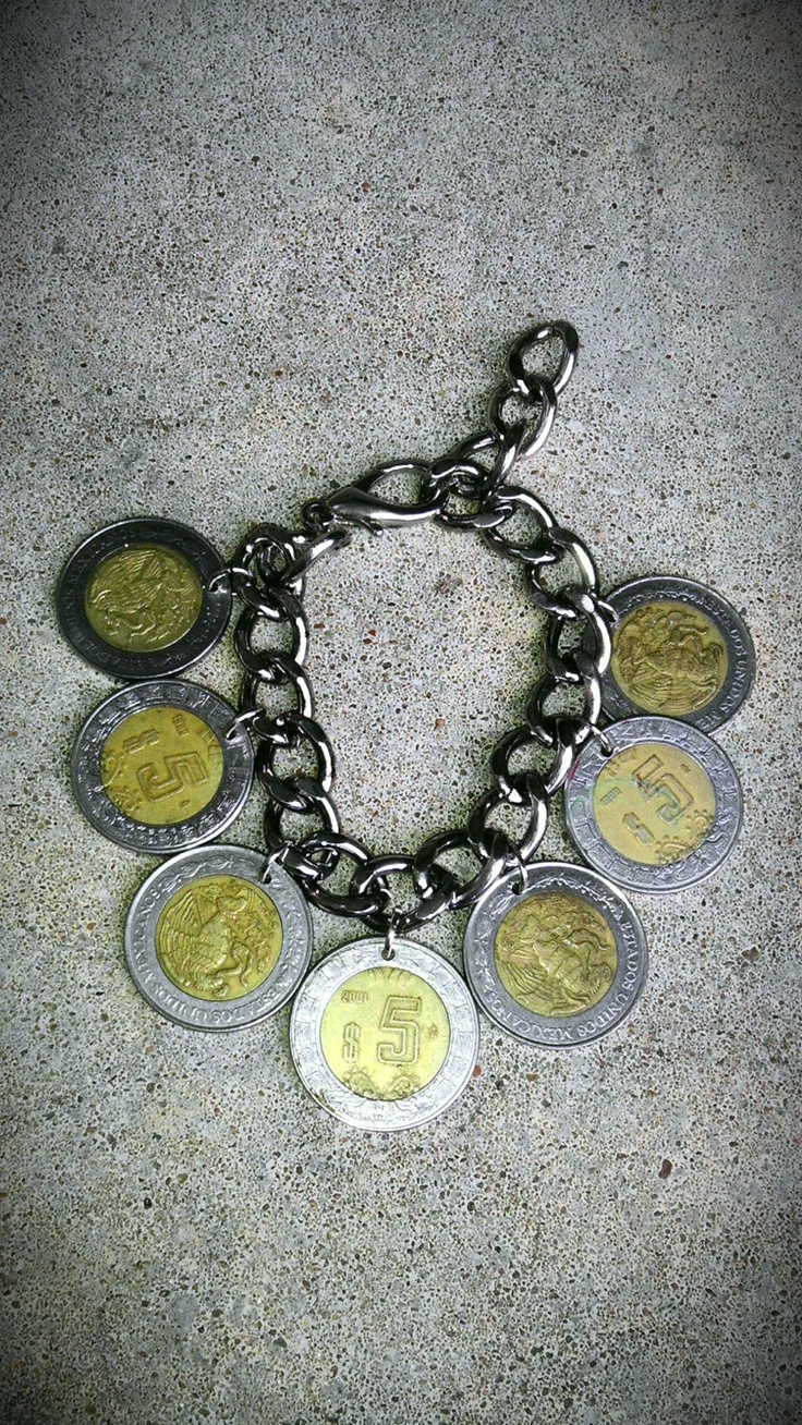 Vintage FOREIGN Mexico Large five dollar Peso silver by bleustuff1, $10.99