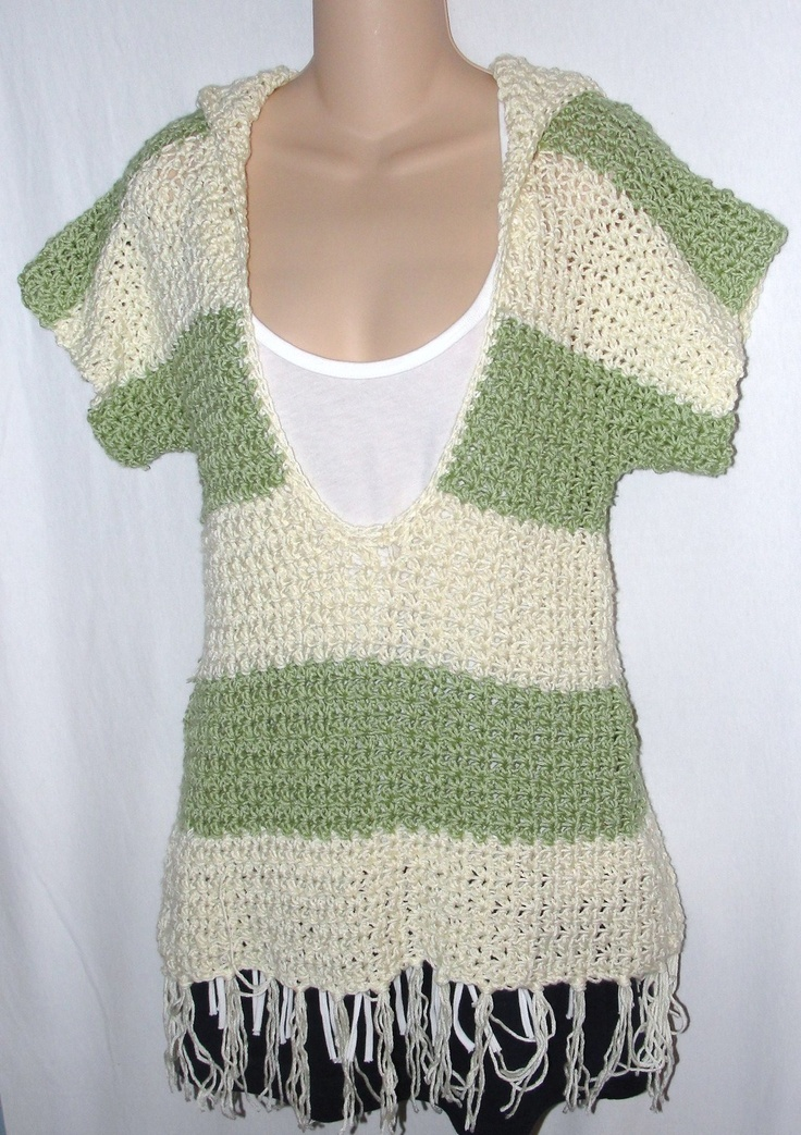 Free Crochet Pattern V Neck Pullover : Crochet Pattern for Hooded Pullover Sweater with Large V ...
