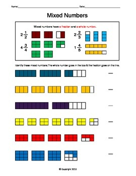 This worksheet introduces mixed numbers. Students are to identify the ...