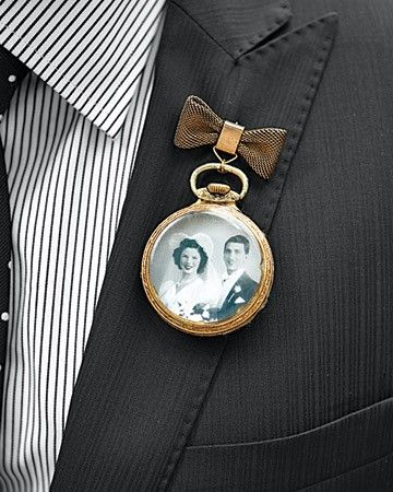 I love the idea of incorporating little photos of loved ones in boutonnieres and bouquets