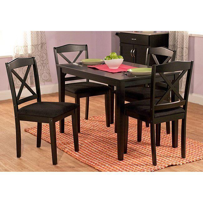 Black 5 piece crossback dining set small apartment kitchen nook break - Small kitchen nook sets ...