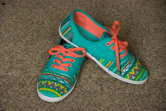 painted shoes, aztec plimsolls, colorful shoes for women MADE TO ORDER