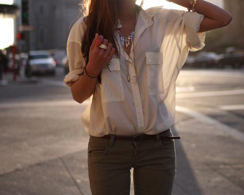 skinny jeans + skinny belt + sheer top