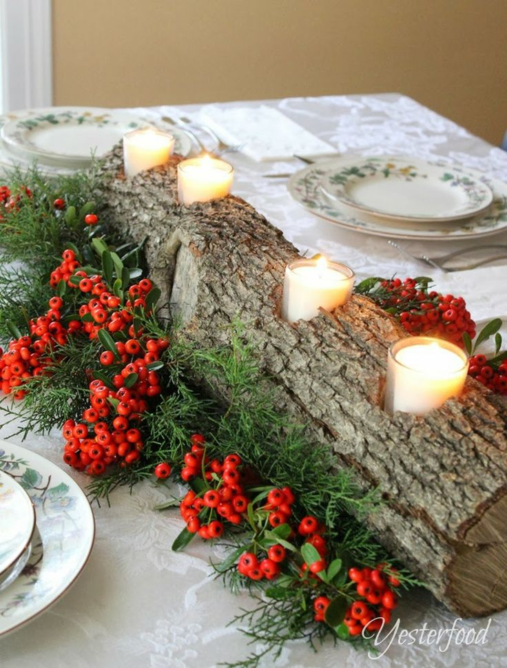 Yesterfood rustic log centerpiece christmas