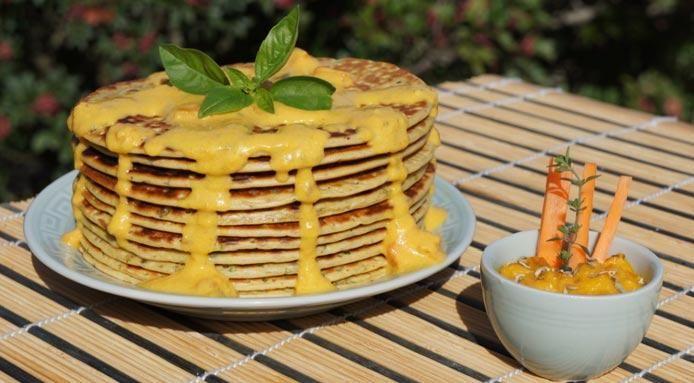 Vegan Pancakes With Creamy Carrot Chutney | Recipe