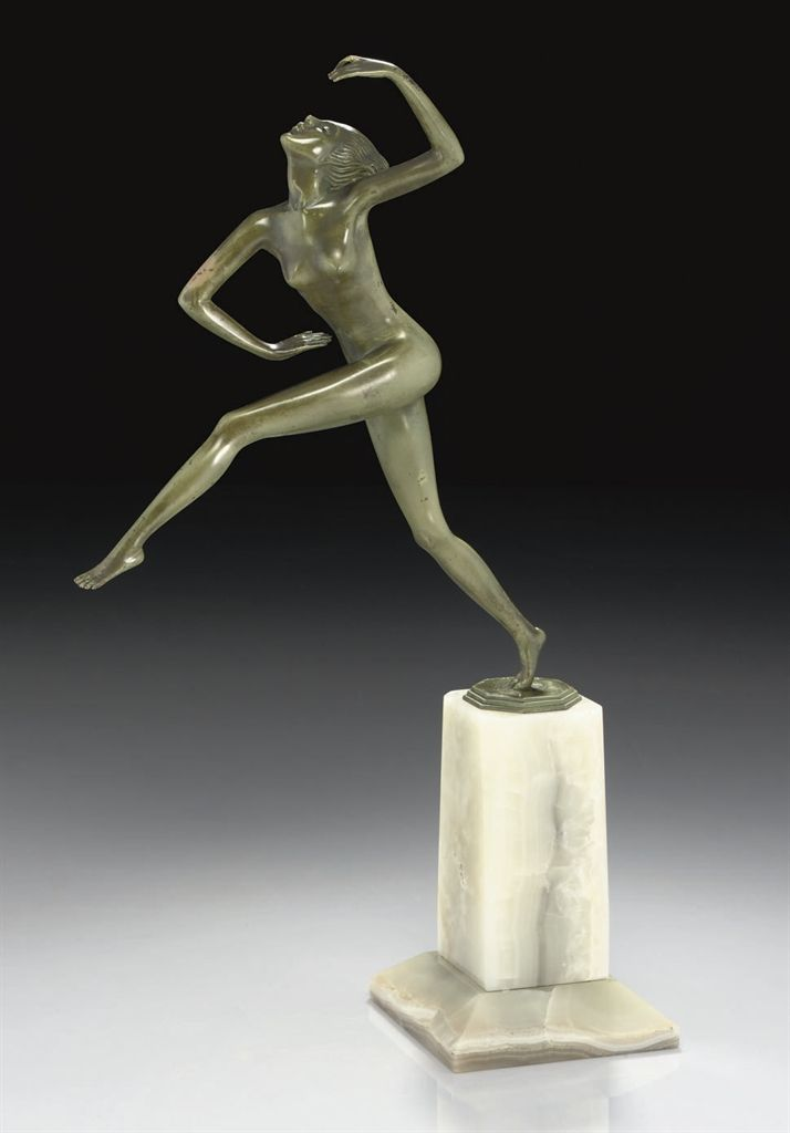 FELIX WEISS | 'LIBERTY', A COLD-PAINTED BRONZE FIGURE, 1930
