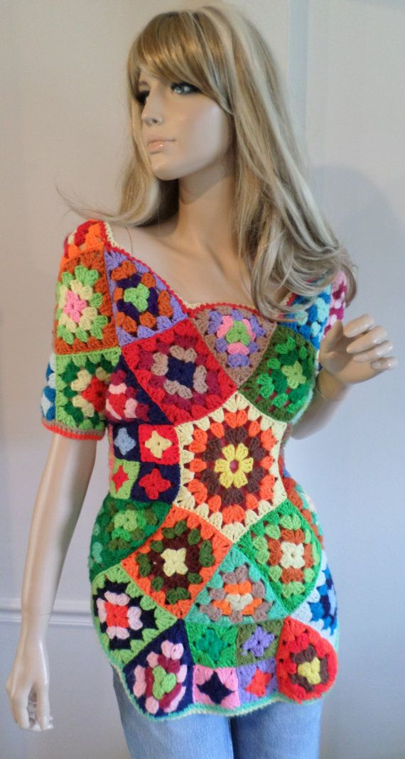 Crochet Granny Square Vest Pattern : Vintage 1960s 70s Womens Crocheted Over-sized GraNNy ...