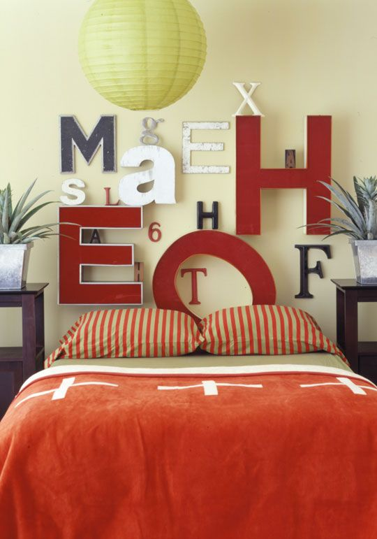 I love things made into headboards that aren't headboards. #letters