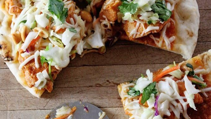 Indian Butter Chicken Naan Pizza with Lime & Peanut Slaw | Recipe