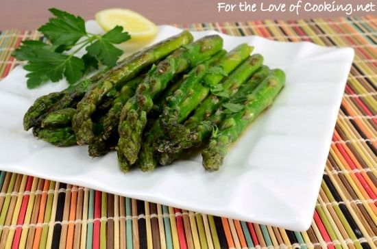 Roasted Asparagus with Dijon-Lemon Sauce (For the Love of Cooking)
