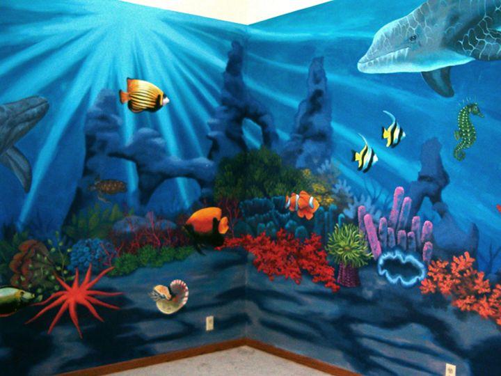 Positive space children 39 s murals underwater mural for Childrens mural