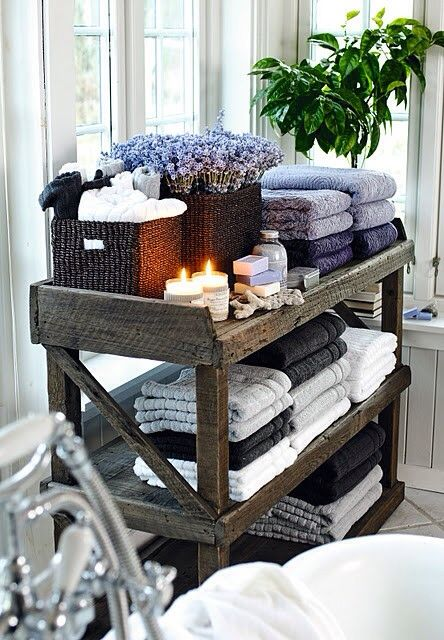 Keeping organized in a cute country bath. French Lavender inspired.