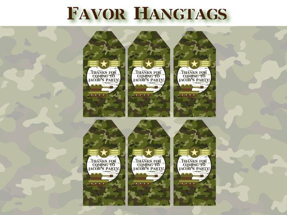 Army birthday party favor tags printable camo army for Army party decoration ideas