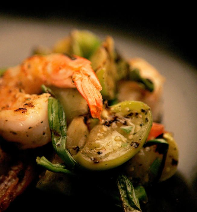 Garlic shrimp with grilled tomatillos | Recipe
