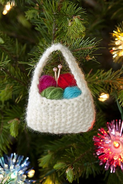 yarn basket ornament pattern